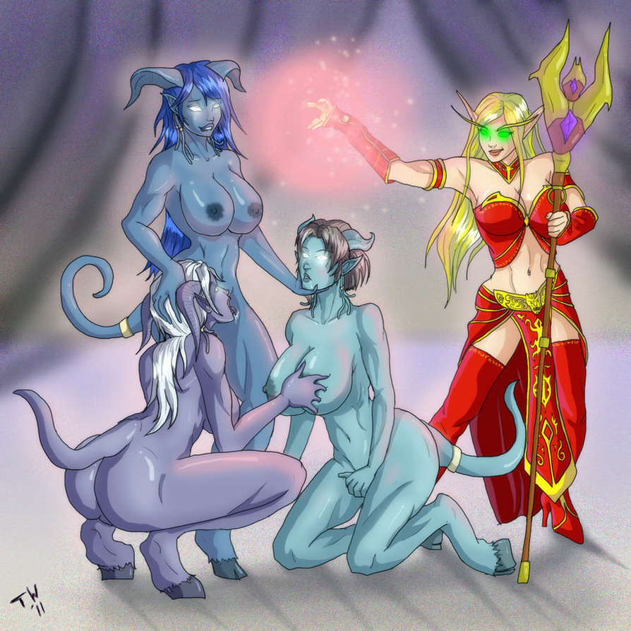 Nude blood elfs and draenei erotic comic