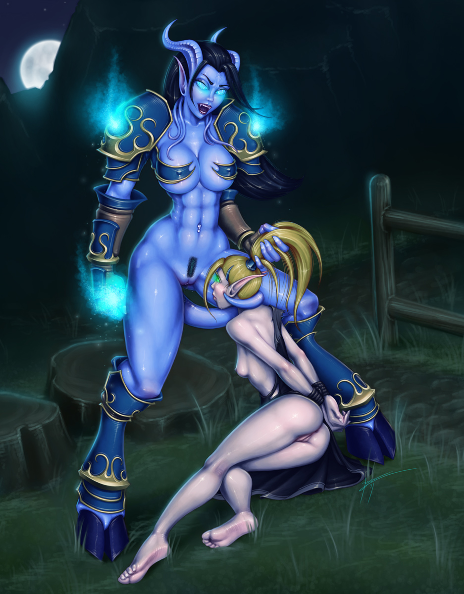 Draenei has sex with blood elf porn image