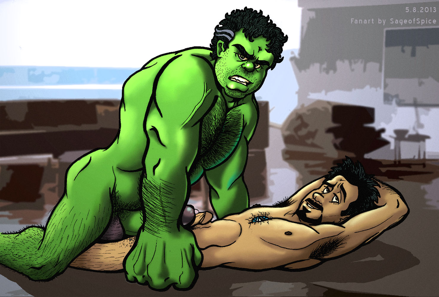 The hulk violently fucks his cock by sliding her entire body up and down his rock