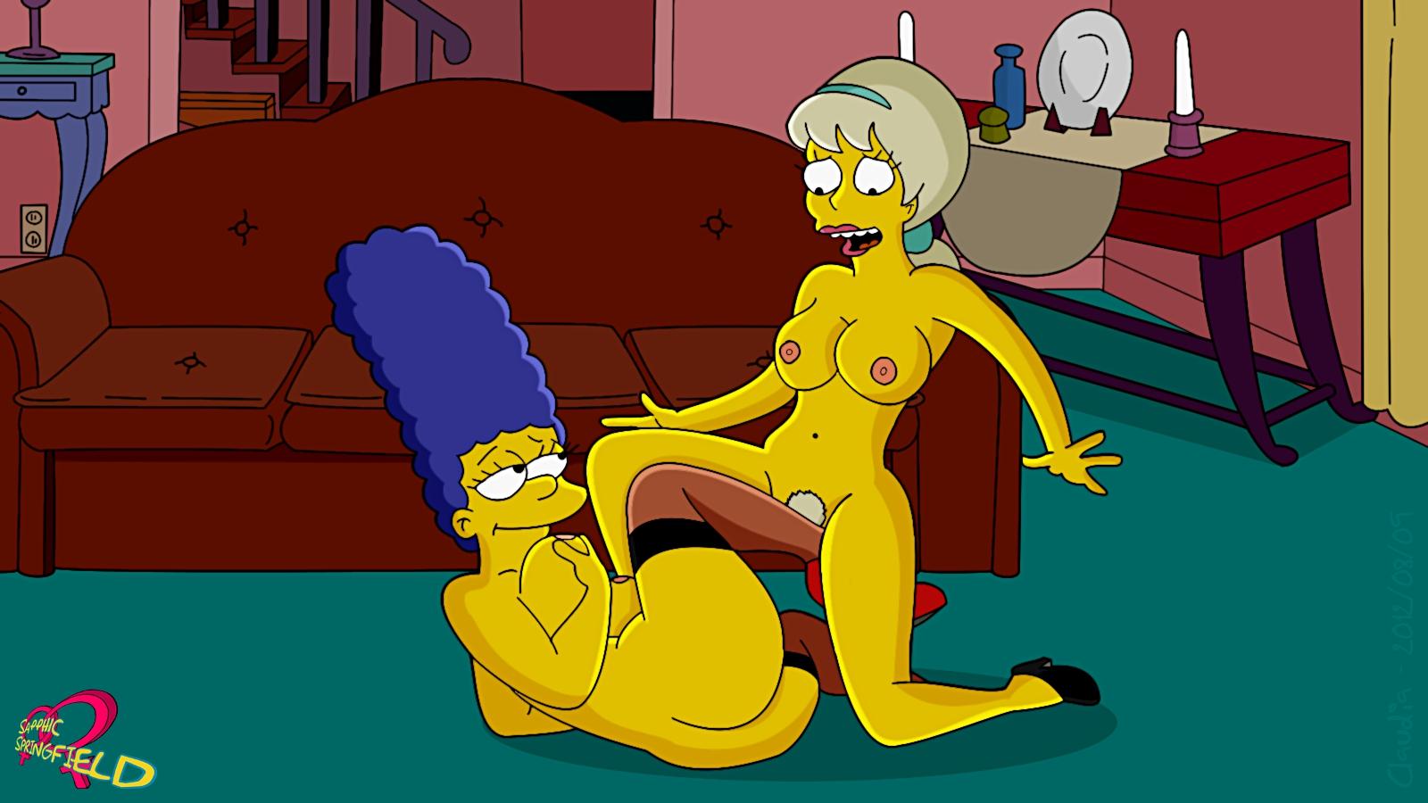 Порно Симпсоны Гомер и Мардж трахают вдвоем бабу