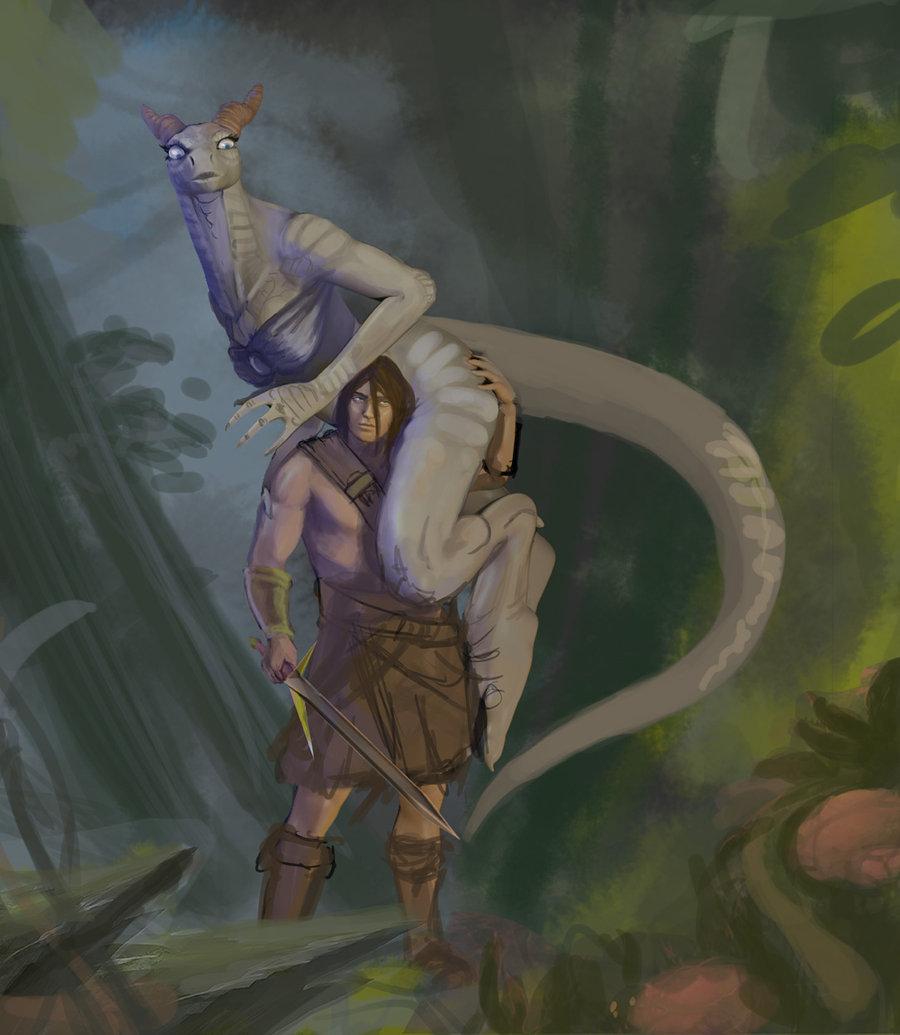 Fantasy naked saurian