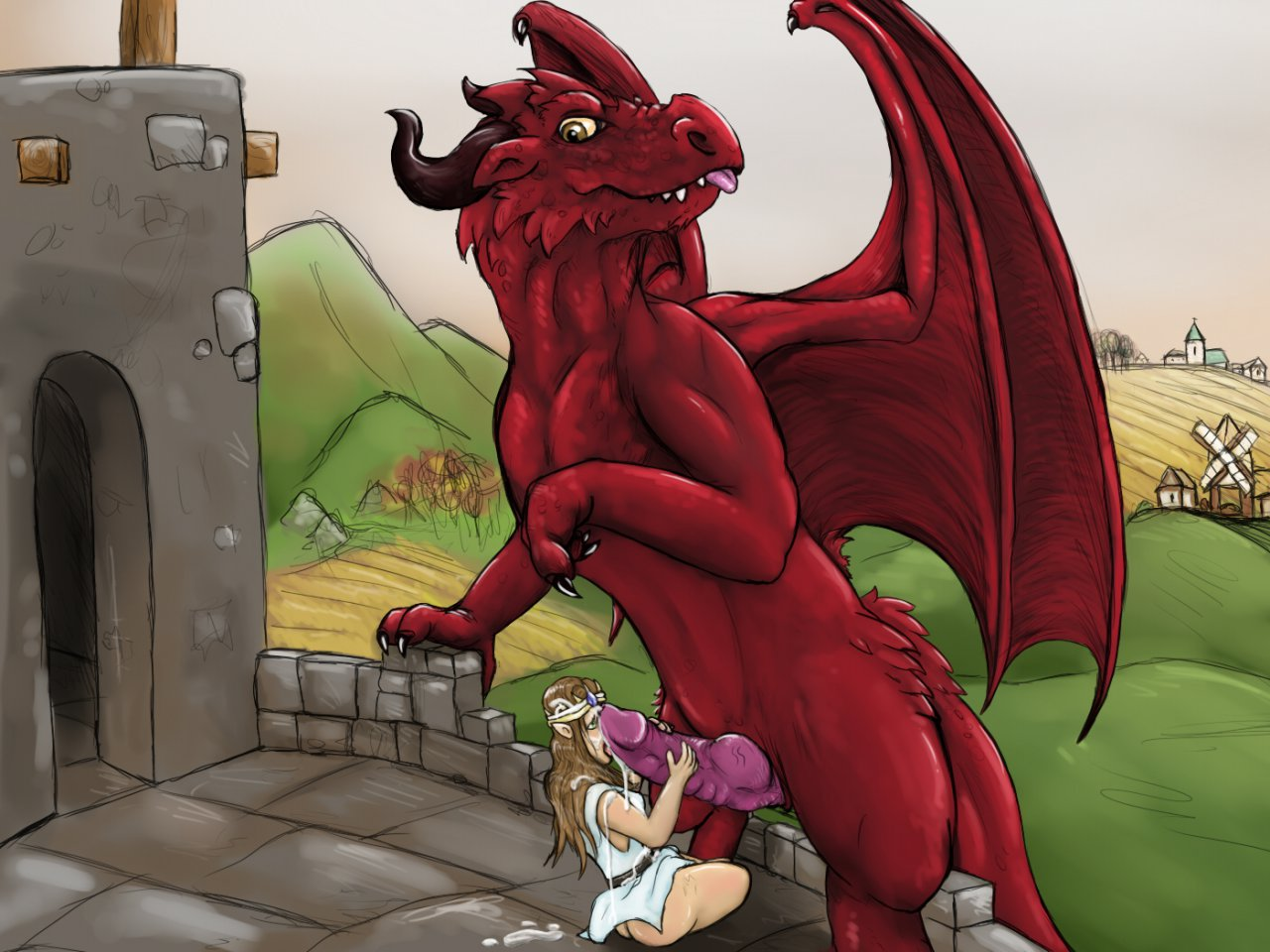 Elfin princess gets fucked by a dragon  erotic comic