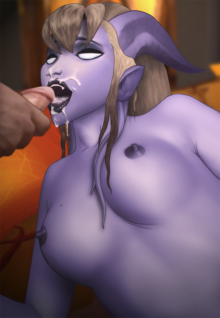 Girl playing world of warcraft and sucking  porn scene