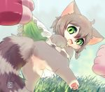 azuma_minatsu blush cat_busters clothed clothing clothing_lift domestic_cat felid feline felis green_eyes hair mammal open_mouth skirt skirt_lift tears