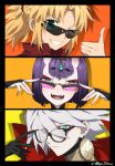 1boy 2girls bangs blonde_hair eyebrows_visible_through_hair eyes_visible_through_hair fate/grand_order fate_(series) glasses green_eyes hand_on_eyewear heterochromia karna_(fate) meiji_ken mordred_(fate) mordred_(fate)_(all) multiple_girls one_eye_closed open_mouth orange_background parted_lips portrait purple_eyes purple_hair red_eyes shadow short_hair shuten_douji_(fate/grand_order) sunglasses teeth thumbs_up white_hair yellow_background