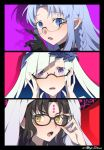 3girls bangs bespectacled black_hair blue_eyes blue_hair blush braid brynhildr_(fate) caster commentary_request eyebrows_visible_through_hair facial_mark fate/grand_order fate_(series) glasses hand_on_eyewear horns long_hair looking_at_viewer meiji_ken multiple_girls open_mouth pink_background pointy_ears portrait purple_background purple_eyes red_background sesshouin_kiara shadow side_braid sweat yellow_eyes