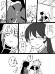 2girls braid comic eyes_closed flying_sweatdrops frown greyscale hakama head_on_back houshou_(kantai_collection) japanese_clothes kantai_collection monochrome multiple_girls open_mouth ponytail single_braid smile translation_request unryuu_(kantai_collection) yoichi_(umagoya)