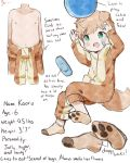2019 animal_humanoid ball bandage blonde_hair canid canid_humanoid canine canine_humanoid child clothed clothing dog_humanoid english_text green_eyes hair humanoid kaoru_(thebrushking) legwear male mammal model_sheet navel nipples onesie simple_background socks solo text thebrushking topless white_background young
