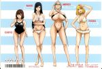 10s 4girls adjusting_eyewear adjusting_glasses barefoot bikini bikini_skirt black_bikini black_hair black_swimsuit blonde_hair breasts brown_hair cleavage english_text feet female frilled_bikini frills glasses grey_hair hair_bun hand_on_hip highres hips huge_breasts j.c._staff japanese_text kurihara_chiyo_(prison_school) kurihara_mari_(prison_school) large_breasts legs_crossed lineup lips long_hair looking_at_viewer micro_bikini midorikawa_hana multiple_girls navel official_art one-piece_swimsuit open_mouth prison_school riding_crop scan shiraki_meiko short_hair silver_hair smile swimsuit taniguchi_jun'ichirou taniguchi_junichiro thighs tied_hair weapon whip white_swimsuit