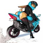2019 angry anthro butt camel_toe clothing female footwear gloves hare high_heels jacket lagomorph leaning leaning_forward leather leather_jacket legwear looking_back mammal mcfli motorcycle motorcycle_helmet panties rabbit red_eyes rubber shoes solo stockings thick_thighs thigh_highs underwear vehicle