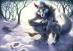 2018 anthro biped black_claws black_nose blue_ears canid canine canis claws clothing crouching detailed_background digital_media_(artwork) digitigrade dipstick_ears fluffy fluffy_tail footprint fur grey_ears grey_fur grey_tail heterochromia inner_ear_fluff loincloth long_tail male mammal mokarakom multicolored_ears muscular red_ears slokgreatwolf snow solo toe_claws tree wolf
