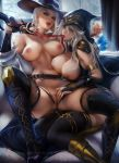 absurdres alcohol ashe_(league_of_legends) ashe_(overwatch) banned_artist belt black_legwear black_nails blue_eyes breasts breasts_outside bridal_gauntlets crossover fingering glasses gun highres hood jewelry large_breasts league_of_legends lips lipstick long_hair makeup mole mouth_hold nail_polish nipples nude overwatch paid_reward patreon_reward red_eyes rifle sakimichan silver_hair spread_legs torn_clothes weapon white_hair yuri