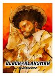 2boys 70s afro beard black_hair black_skin blackkklansman collared_shirt facial_hair highres hooded jacket ku_klux_klan masked multiple_boys official_art oldschool poster_(object) ron_stallworth shirt takei_hiroyuki white_robe yellow_jacket