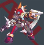 1boy android axl capcom character_name degarashi_(ponkotsu) dual_wielding full_body green_eyes grey_background grin gun helmet holding holding_weapon male_focus rockman rockman_x scar scarf simple_background smile solo spiked_hair standing weapon