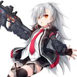 1girl :o belt black_gloves black_jacket black_legwear black_skirt closers collared_shirt cowboy_shot dress_shirt finger_on_trigger fingerless_gloves gloves grey_hair gun hair_over_one_eye holding holding_gun holding_weapon jacket leg_belt leg_up long_hair long_sleeves looking_at_viewer miniskirt necktie open_clothes open_jacket orange_eyes parted_lips pleated_skirt pnt_(ddnu4555) ponytail red_neckwear shirt simple_background skindentation skirt solo thigh_strap thighhighs tina_(closers) very_long_hair weapon white_background white_shirt zettai_ryouiki
