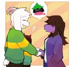2019 anthro asriel_dreemurr chara_(undertale) clothed clothing deltarune digital_media_(artwork) female fur hair hand_in_pocket horn long_ears male mammal na1748_(artist) ralsei reptile scalie short_tail simple_background susie_(deltarune) thought_bubble undertale video_games white_fur