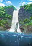 absurdres afba artist_name day fish highres no_humans outdoors pixiv_id scenery signature sky tate_no_yuusha_no_nariagari tree water waterfall