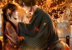 1boy 1girl autumn autumn_leaves black_hair blurry blurry_background blush braid brown_hair dating eyes_closed glasses hair_ornament hand_in_another's_hair hetero highres izumi_(stardustalone) japanese_clothes kimono leaf leaf_print long_hair looking_at_another maple_leaf original outdoors parted_lips pond profile renri_no_chigiri_wo_kimi_to_shiru wide_sleeves