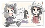 2girls :d artist_name black_eyes black_hair commentary common_raccoon_(kemono_friends) fang fur_collar hair_ornament hairclip hat hat_feather kaban_(kemono_friends) kemono_friends mirror multiple_girls open_mouth panzuban pointing pointing_at_self raccoon_tail red_shirt shirt short_hair short_sleeves simple_background smile tail twintails twitter_username white_background white_hair white_hat