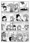 5girls akebono_(kantai_collection) apron chocolate comic commentary_request hand_on_own_face highres ikazuchi_(kantai_collection) kantai_collection kappougi lineart long_hair monochrome multiple_girls oboro_(kantai_collection) otoufu sailor_collar sazanami_(kantai_collection) school_uniform serafuku shelf short_ponytail spoon sweater tasting thumbs_up translation_request twintails upper_body ushio_(kantai_collection) window