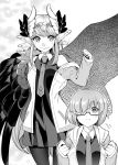 :t absurdres black_dress black_legwear blush breasts circe_(fate/grand_order) closed_mouth commentary_request cosplay dress fate/grand_order fate_(series) feathered_wings flapping_ears glasses greyscale head_wings highres ichihara_kazuma jacket jewelry long_hair long_pointy_ears looking_at_viewer mash_kyrielight mash_kyrielight_(cosplay) monochrome multiple_girls necktie open_mouth pantyhose pointy_ears pout short_hair smile wings