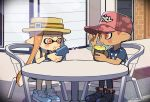 1boy 1girl baseball_cap black_footwear black_pants blue_footwear blue_shirt cellphone chair collarbone cup dark_skin dark_skinned_male domino_mask drinking drinking_straw hat holding holding_cup holding_phone inkling kirikuchi_riku long_hair mask octarian octoling orange_eyes orange_hair outdoors pants phone pink_eyes pink_hair pink_hat pink_shirt pointy_ears polka_dot polka_dot_shirt reticule shadow shirt shoelaces shoes short_hair short_sleeves single_vertical_stripe sitting smartphone smartphone_case sneakers splatoon splatoon_(series) splatoon_2 sweat t-shirt table tank_top tentacle_hair twitter_username wristband yellow_hat