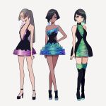 3girls bangs bare_shoulders bismuth black_footwear black_hair black_legwear blue_dress blunt_bangs boots breasts collarbone dark_skin dress eyes_closed full_body green_dress grey_hair hair_over_one_eye halterneck hand_on_hip high_heels kisaragi_yuu_(fallen_sky) long_hair looking_at_viewer multicolored multicolored_clothes multicolored_dress multiple_girls original ponytail profile purple_dress shiny shiny_hair shoes short_hair signature simple_background small_breasts smile standing thigh_boots thighhighs white_background