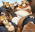 2018 anthro belly black_nose brown_fur bulge canid canine clothing dsharp_k eyes_closed footwear fundoshi fur group gyobu japanese_clothing leaf male mammal moobs nipples one_eye_closed overweight overweight_male raccoon_dog robe sandals scar tanuki tokyo_afterschool_summoners underwear video_games wink young