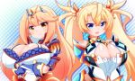 2girls bare_shoulders blonde_hair blue_eyes bradamante_(fate/grand_order) bradamante_(fate/grand_order)_(cosplay) breast_hold breasts cleavage cosplay elbow_gloves fate/grand_order fate_(series) gloves hikari_(xenoblade_2) hikari_(xenoblade_2)_(cosplay) large_breasts long_hair multiple_girls nintendo oborotsuki_kakeru open_mouth simple_background smile twintails very_long_hair white_background xenoblade_(series) xenoblade_2 yellow_eyes
