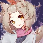 1girl :p animal_ear_fluff animal_ears bangs brown_eyes brown_hair character_request closed_mouth duel_monster eta eyebrows_visible_through_hair grey_kimono hair_ribbon hand_up head_tilt japanese_clothes kimono long_sleeves orange_ribbon ribbon sample sleeves_past_fingers sleeves_past_wrists smile solo tail tail_raised tongue tongue_out upper_body yu-gi-oh!