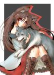 animal animal_ear_fluff animal_ears bare_shoulders boots brown_footwear brown_hair closed_mouth cross-laced_footwear fang_out grey_background head_tilt highres imaizumi_kagerou knees_together_feet_apart lace-up_boots long_hair looking_at_viewer off_shoulder petting red_eyes red_skirt shirt sitting skirt smile solo tail tikano touhou two-tone_background white_background white_shirt wolf wolf_ears wolf_tail
