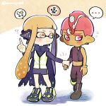... 1boy 1girl ? bangs bike_shorts black_cape black_footwear black_pants blunt_bangs boots cape closed_mouth dark_skin dark_skinned_male domino_mask flying_sweatdrops frown full_body hand_holding headgear index_finger_raised inkling kirikuchi_riku long_hair long_sleeves looking_at_another mask mohawk navel octarian octoling pants pink_eyes pink_hair pointy_ears shoes short_hair single_bare_shoulder single_sleeve single_vertical_stripe smile speech_bubble splatoon splatoon_(series) splatoon_2 splatoon_2:_octo_expansion spoken_ellipsis squidbeak_splatoon suction_cups tentacle_hair torn_cape torn_clothes twitter_username vest wristband zipper zipper_pull_tab