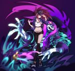 1girl absurdres akali bell belt belt_buckle black_legwear bracelet brown_hair buckle earrings eyeshadow glowing glowing_eyes gradient gradient_background hat highres jewelry jiuling k/da_(league_of_legends) k/da_akali league_of_legends makeup mask mismatched_legwear navel paint paint_on_clothes paint_on_face ponytail purple_eyes purple_hair smoke thighhighs tied_hair tongue tongue_out white_belt yellow_eyes