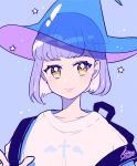 1girl backpack bag bangs blue_hat cross earrings hat highres jewelry kisaragi_yuu_(fallen_sky) original purple_background purple_hair see-through shirt short_hair signature simple_background solo star upper_body white_shirt witch_hat yellow_eyes