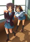 2girls brown_hair cardigan lucky_star motteke!_serafuku multiple_girls nagato_yuki parody patorishia patricia_(stylish_marunage) school_uniform serafuku short_hair suzumiya_haruhi suzumiya_haruhi_no_yuuutsu