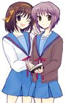 book brown_hair cardigan nagato_yuki school_uniform serafuku shima_tokio short_hair suzumiya_haruhi suzumiya_haruhi_no_yuuutsu