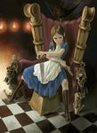 1girl alice alice_(wonderland) alice_in_wonderland alice_liddell american_mcgee's_alice american_mcgee's_alice apron board_game boots brown_hair checkered checkered_floor chess clothed clothing dress floor green_eyes gun hair human jpeg_artifacts knife mammal no_legwear not_furry oddly_sexy perspective ranged_weapon sitting skull solo spread_legs spreading throne unknown_artist vorpal_blade weapon
