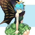 1girl ;) antennae arm_support bangs bare_arms bare_shoulders blue_background blue_hair blush butterfly_wings commentary_request dress eternity_larva eyebrows_visible_through_hair feet_out_of_frame green_dress hair_between_eyes highres invisible_chair leaf looking_at_viewer older one_eye_closed rin_falcon short_hair sitting sleeveless sleeveless_dress smile solo touhou two-tone_background white_background wings yellow_eyes