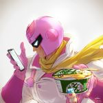 1boy artist_name backlighting bodysuit captain_falcon cellphone chopsticks commentary_request cup_ramen f-zero food food_request gloves helmet highres holding holding_food looking_at_phone male_focus nintendo phone pink_gloves pink_helmet scarf solo takami_masahiro twitter_username watermark web_address white_background yellow_neckwear