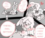 breasts clothed clothing comic dialogue digital_media_(artwork) english_text eyes_closed female female/female kissing lagomorph lewd4food lying mammal rabbit saliva simple_background text