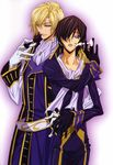 2boys belt biting black_hair blonde_hair blue_eyes board_game brothers chess chess_piece code_geass gloves hair_over_one_eye hand_on_hip highres hips lelouch_lamperouge male male_focus military military_uniform multiple_boys official_art purple_eyes sakou_yukie scan scarf schneizel_el_britannia siblings smile uniform yaoi