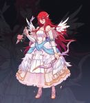 1girl arrow bow_(weapon) bride dress faithom fire_emblem fire_emblem:_kakusei fire_emblem_heroes full_body hair_ornament high_heels highres holding holding_arrow holding_bow_(weapon) holding_weapon long_hair nintendo one_eye_closed open_mouth red_eyes red_hair see-through sleeveless sleeveless_dress solo standing tiamo weapon wedding_dress white_dress wing_hair_ornament
