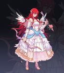 1girl arrow bow_(weapon) bride dress faithom fire_emblem fire_emblem:_kakusei fire_emblem_heroes full_body hair_ornament high_heels highres holding holding_arrow holding_bow_(weapon) holding_weapon long_hair nintendo parted_lips red_eyes red_hair see-through sleeveless sleeveless_dress solo standing tiamo weapon wedding_dress white_dress wing_hair_ornament