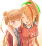 2girls amabuki_maria arm_around_shoulder blonde_hair brown_hair double_bun earrings eyebrows_visible_through_hair eyes_visible_through_hair hair_over_one_eye highres jewelry long_hair multicolored_hair multiple_girls necktie nikaidou_saki open_mouth ponytail smile streaked_hair stud_earrings totosionz track_suit twintails yankee zombie_land_saga