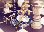 alice_(wonderland) alice_in_wonderland blonde_hair blue_eyes board_game boots card cards chess crown dice egg fork game hourglass knife living_piece lying_card ooyari_ashito original oyari_ashito pocket_watch queen spoon striped striped_legwear striped_thighhighs tea thighhighs watch white_rabbit