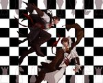 2boys assassin's_creed_ii assassin's_creed_(series) assassin's_creed_ii blade board_game brown_eyes brown_hair cape chess daltucia ezio_auditore_da_firenze federico_auditore_da_firenze highres hood long_hair male_focus multiple_boys ponytail scar siblings vambraces