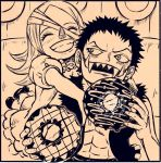 1boys 1girl age_difference brother_and_sister charlotte_brulee charlotte_katakuri food one_piece siblings smile younger