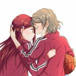 2girls arm_around_shoulder basketball blush eyes_closed from_behind grey_hair hair_ornament hairclip half_updo hand_on_another's_back jacket long_hair long_sleeves love_live! love_live!_sunshine!! multiple_girls open_mouth red_hair red_jacket sakurauchi_riko short_hair simple_background smile sweatband track_jacket upper_body watanabe_you white_background yuchi_(salmon-1000)