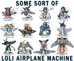 a6m_zero absurdly_long_hair airplane bangs blonde_hair child crossed_arms drill_hair flat_chest katana loli loli_battle_machine long_hair looking_at_viewer looking_back maebari mecha_musume military multiple_girls personification serafuku short_hair simple_background sword translation_request twins weapon white_background world_war_ii yonezuka_ryou