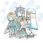 1boy 3girls artist_name ayawo blonde_hair blue_hair brother_and_sister cape chibi closed_mouth crown dress eyes_closed feather_trim fire_emblem fire_emblem_heroes fjorm_(fire_emblem_heroes) from_side gradient_hair gunnthra_(fire_emblem) hair_ornament hrid_(fire_emblem_heroes) long_hair long_sleeves multicolored_hair multiple_girls nintendo pink_hair short_dress short_hair siblings silver_hair sisters smile standing tiara veil white_hair ylgr_(fire_emblem_heroes)
